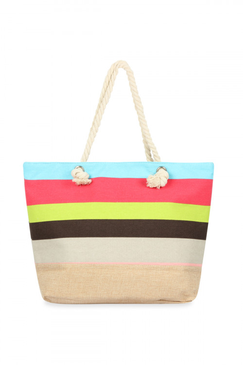 A1-3-1-AHDG2713MT-2 STYLE 2 MULTICOLOR STRIPED TOTE BAG/6PCS