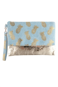 A3-3-1-AHDG2715BL BLUE PINEAPPLE METALLIC PRINT WRISTLET BAG/6PCS