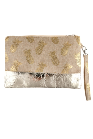 A3-3-1-AHDG2715LBR LIGHT BROWN PINEAPPLE METALLIC PRINT WRISTLET BAG/6PCS