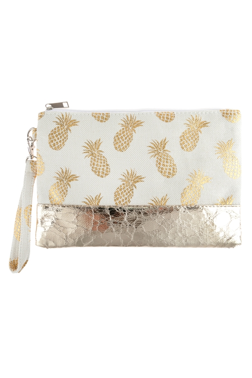 A3-1-1-AHDG2715NA NATURAL PINEAPPLE METALLIC PRINT WRISTLET BAG/6PCS