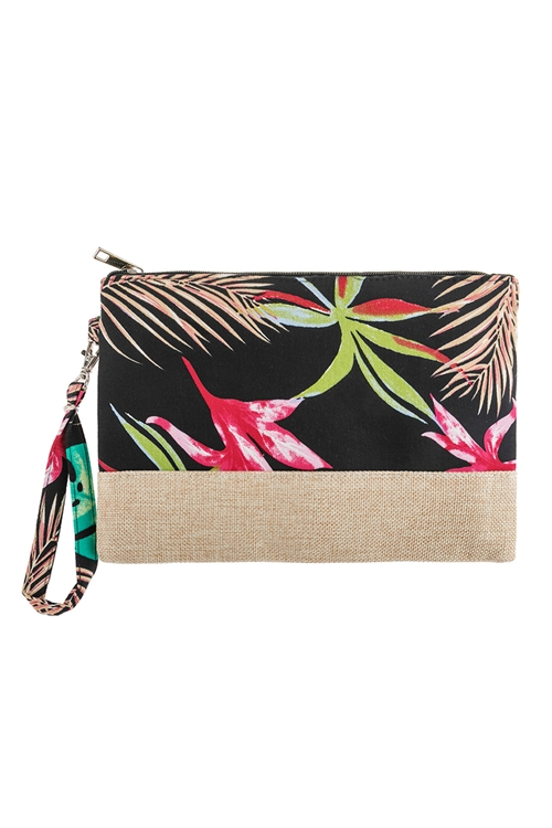 A3-3-1-AHDG2716BK BLACK BOTANICAL PRINTED WRISTLET BAG/6PCS