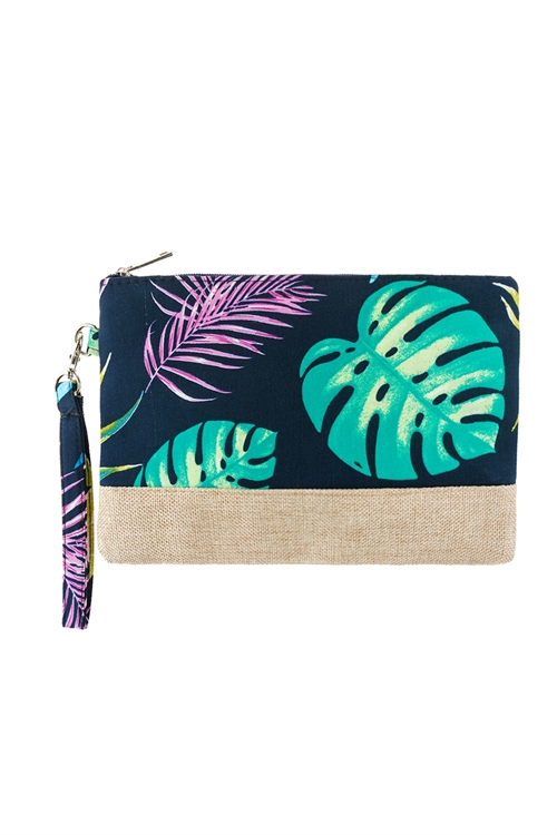 A2-1-1-AHDG2716NV NAVY BOTANICAL PRINTED WRISTLET BAG/6PCS