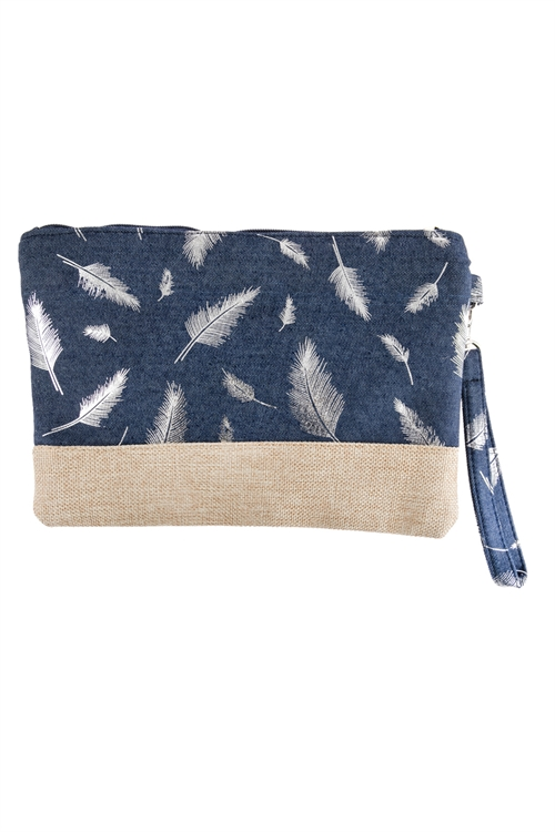 A1-2-1-AHDG2721SL SILVER FEATHER PRINTED WRISTLET BAG/6PCS