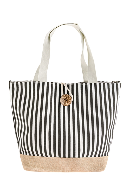 A1-3-1-AHDG2722BK BLACK STRIPED TOTE BAG WITH COCONUT SHELL BUTTON TIE LOCK/6PCS