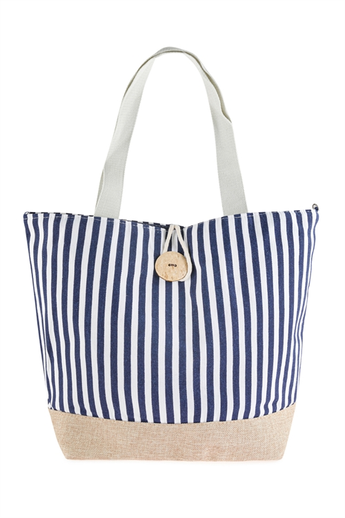 A3-1-1-AHDG2722NV NAVY STRIPED TOTE BAG WITH COCONUT SHELL BUTTON TIE LOCK/6PCS