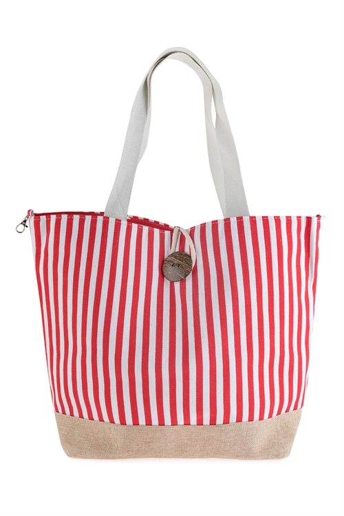 A1-2-1-AHDG2722RD RED STRIPED TOTE BAG WITH COCONUT SHELL BUTTON TIE LOCK/6PCS