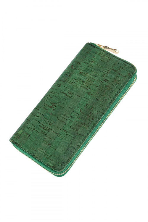 A1-1-1-AHDG2723GR GREEN CORK SINGLE ZIPPER WALLET/6PCS