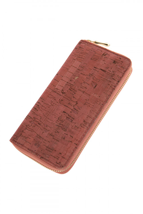 A2-2-1-AHDG2723PK PINK CORK SINGLE ZIPPER WALLET/6PCS