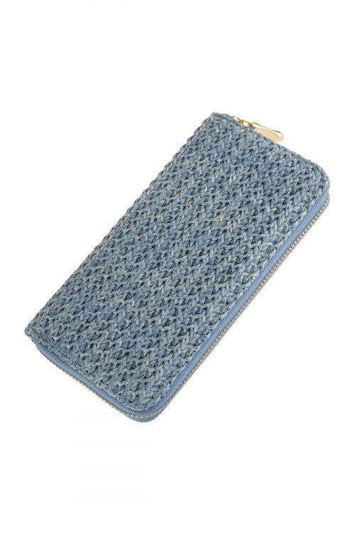 A2-1-1-AHDG2724LBL LIGHT BLUE CROCHETED SINGLE ZIPPER WALLET/6PCS