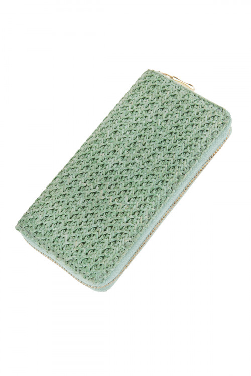 A2-1-1-AHDG2724MN MINT CROCHETED SINGLE ZIPPER WALLET/6PCS