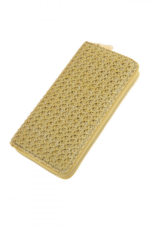 A2-2-1-AHDG2724YW YELLOW CROCHETED SINGLE ZIPPER WALLET/6PCS