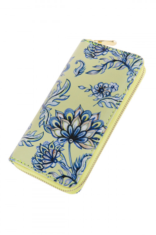 A1-2-1-AHDG2727 FLORAL PRINTED SINGLE ZIPPER WALLET/6PCS