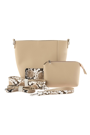 A2-3-1-AHDG2735BE BEIGE LEATHER SHOULDER BAG WITH SNAKE SKIN PRINTED DETACHABLE STRAP/3PCS
