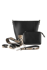 S7-6-1-AHDG2735BK BLACK LEATHER SHOULDER BAG WITH SNAKE SKIN PRINTED DETACHABLE STRAP/3PCS