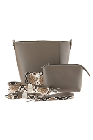 S6-5-5-AHDG2735TP TAUPE LEATHER SHOULDER BAG WITH SNAKE SKIN PRINTED DETACHABLE STRAP/3PCS