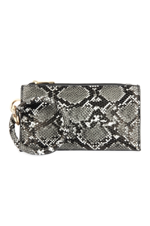 A1-1-1-AHDG2809BK BLACK SNAKE SKIN ZIPPERED BAG WITH RING HOLDER/6PCS