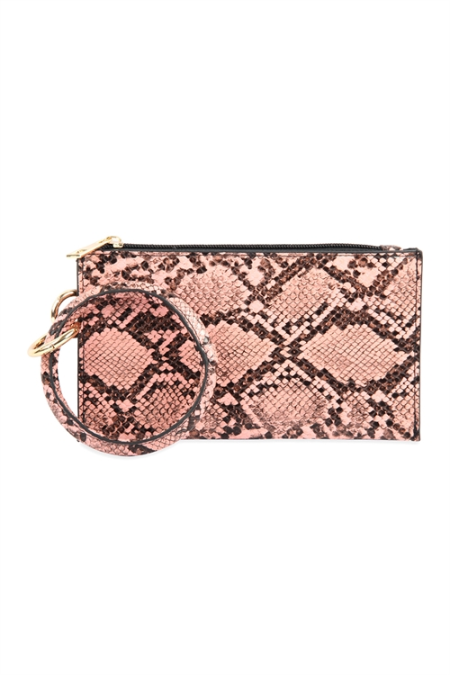 A1-1-1-AHDG2809PK PINK SNAKE SKIN ZIPPERED BAG WITH RING HOLDER/6PCS