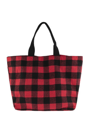 A1-2-5-AHDG2823RD RED PLAID TOTE BAG/6PCS