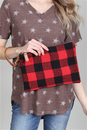 A1-2-1-AHDG2824RD RED PLAID CROSS BODY POUCH/6PCS