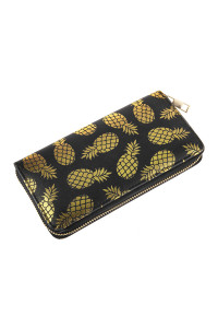SA3-2-5-AHDG2825BK BLACK GOLD PINEAPPLE PRINT ZIPPER WALLET/6PCS