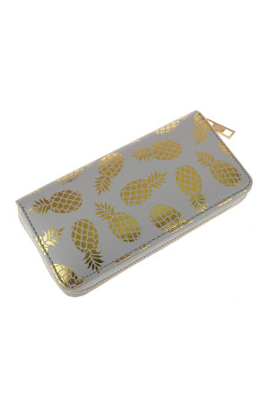 A1-3-5-AHDG2825GY GRAY GOLD PINEAPPLE PRINT ZIPPER WALLET/6PCS