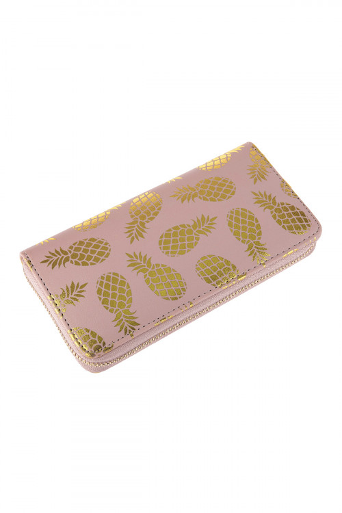 A1-3-5-AHDG2825PK PINK GOLD PINEAPPLE PRINT ZIPPER WALLET/6PCS