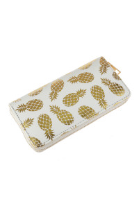 A1-2-5-AHDG2825WT WHITE GOLD PINEAPPLE PRINT ZIPPER WALLET/6PCS