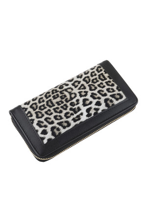SA3-3-5-AHDG2826BK BLACK LEOPARD LEATHER ZIPPER WALLET/6PCS