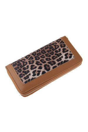 SA3-2-5-AHDG2826BR BROWN LEOPARD LEATHER ZIPPER WALLET/6PCS