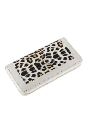 SA3-3-5-AHDG2826WT WHITE LEOPARD LEATHER ZIPPER WALLET/6PCS