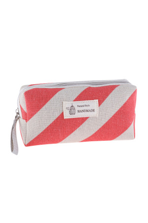 S23-8-4/S23-8-5-HDG3010-3 STYLE 3 STRIPE RED PRINT COSMETIC BAG/6PCS