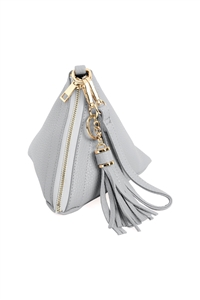 S18-4-4-HDG3249LGY-PYRAMID SHAPE LEATHER WRISTLET BAG-LIGHT GREY/6PCS