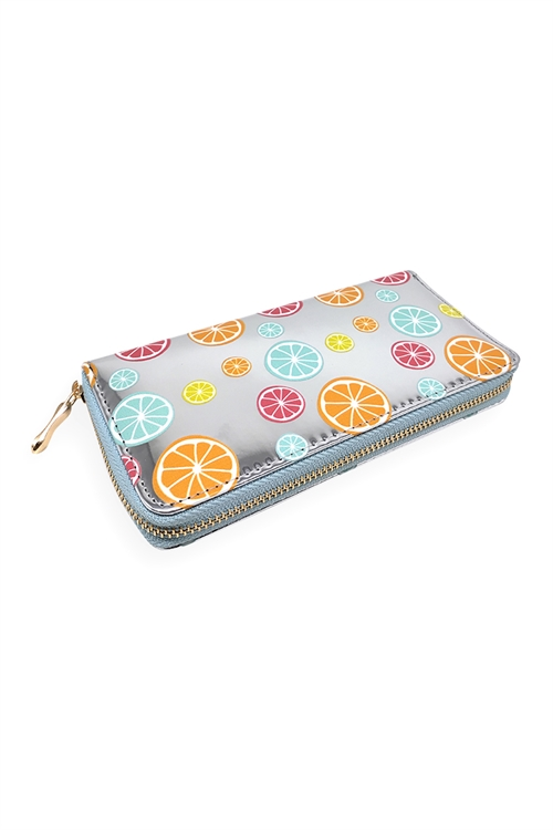 S20-3-3-HDG3283-FRUIT PRINTED METALLIC LEATHER WALLET/6PCS