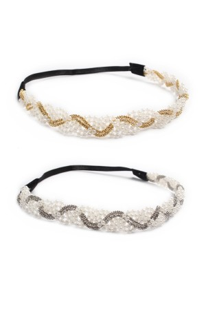 S6-5-3-AHDH1300 GOLD SILVER WITH PEARL HEADBAND/12PCS
