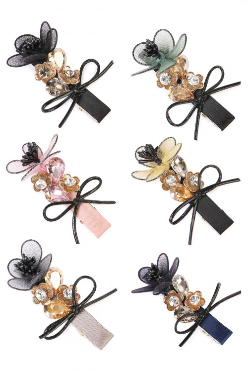 S5-6-2-AHDH1782MIX ASSORTED FLOWER BOW HAIR PIN/6PCS