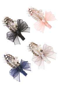 S5-6-3-AHDH1783MIX ASSORTED LACE BOW ACRYLIC BEADED HAIR PIN/6PCS