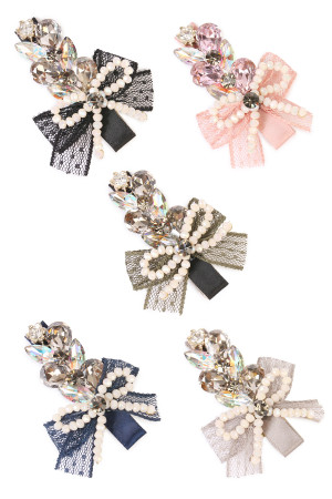 S5-4-3-AHDH1786MIX ASSORTED BOW AND PEARL CLEAR GLASS HAIR CLIP /6PCS
