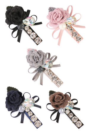 S5-4-2-AHDH1787MIX ASSORTED ROSE ACRYLIC HAIR PIN/6PCS