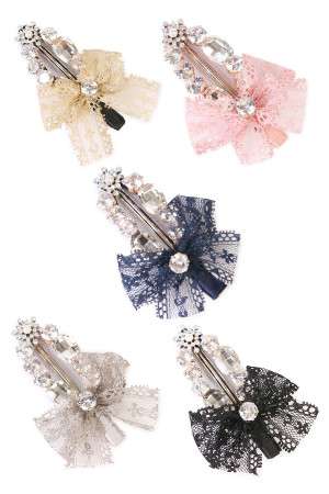 S6-4-2-AHDH1788MIX ASSORTED LACED RIBBON HAIR PIN/6PCS