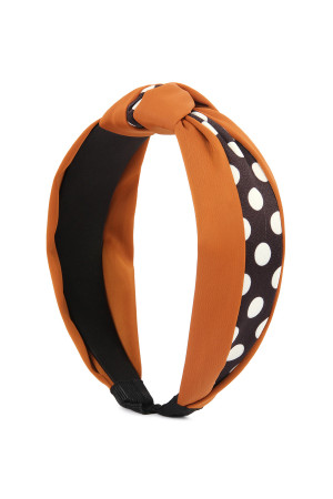 SA4-2-1-AHDH2362BR BROWN HALF TONED POLKA DOTS TIED HAIR BAND/6PCS