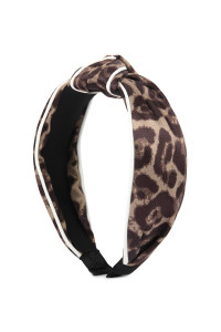 S6-6-2-AHDH2363BR BROWN LEOPARD KNOTTED HAIR BAND/6PCS