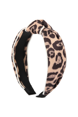 S5-4-1-AHDH2363LBR LIGHT BROWN LEOPARD KNOTTED HAIR BAND/6PCS