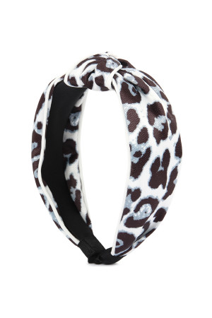 S5-4-1-AHDH2363WT WHITE LEOPARD KNOTTED HAIR BAND/6PCS