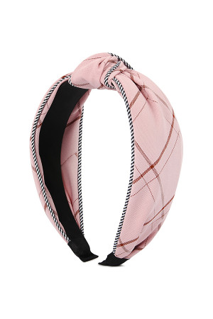 S4-4-5-AHDH2364PK PINK TARTAN KNOTTED HAIR BAND/6PCS
