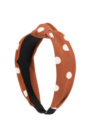 SA4-2-1-AHDH2365CO CORAL POLKA DOTS TIED HAIR BAND/6PCS