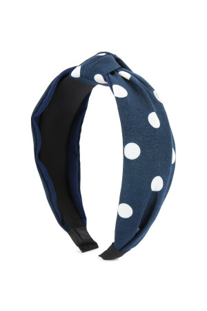 SA4-2-1-AHDH2365NV NAVY POLKA DOTS TIED HAIR BAND/6PCS