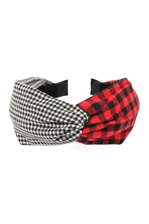 SA4-2-1-AHDH2367RD RED PLAID KNOTTED FABRIC COATED HAIR BAND/6PCS