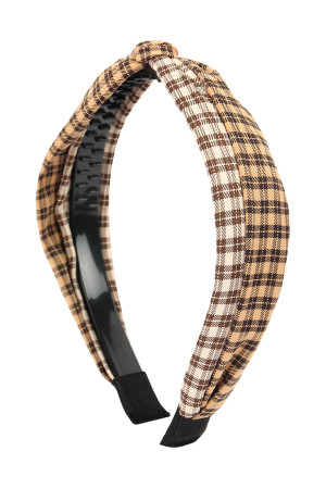 SA4-2-1-AHDH2370BR BROWN TWO TONE PLAID KNOTTED FABRIC COATED HAIR BAND/6PCS