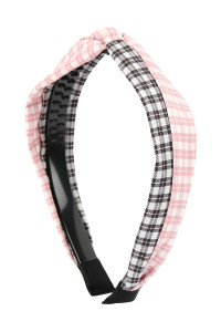 SA4-2-1-AHDH2370PK PINK TWO TONE PLAID KNOTTED FABRIC COATED HAIR BAND/6PCS