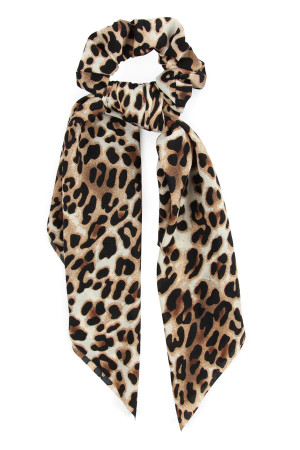 A2-1-2-AHDH2372L LIGHT BROWN LEOPARD SCARF SCRUNCHIES HAIR BAND/6PCS